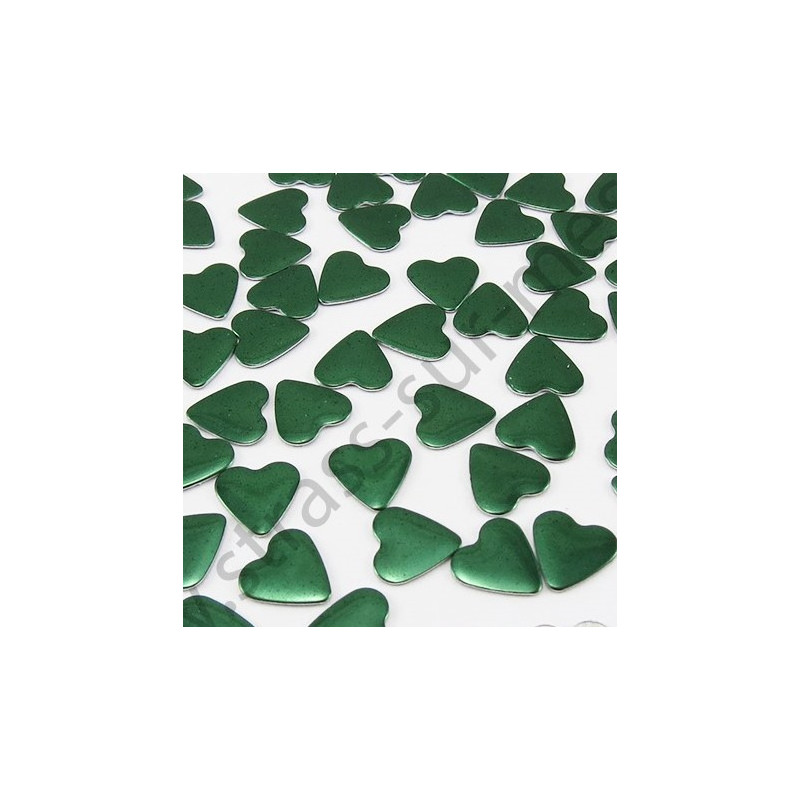Strass thermocollant en métal cœur - Vert émeraude