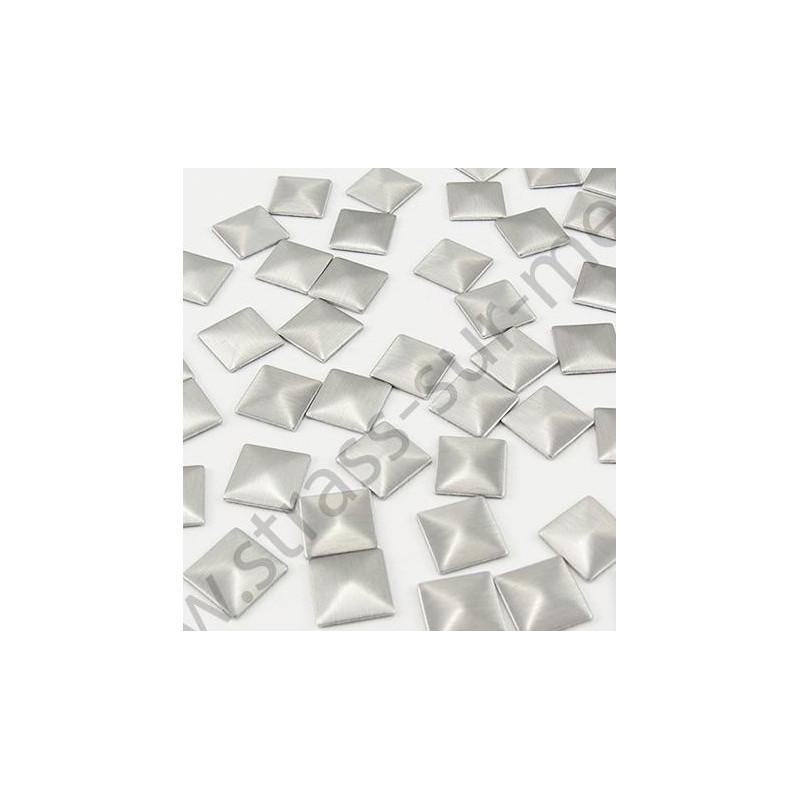 Strass thermocollant en métal carré - Argent mat