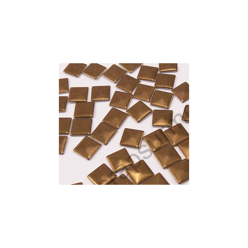 Strass thermocollant en métal carré - Marron