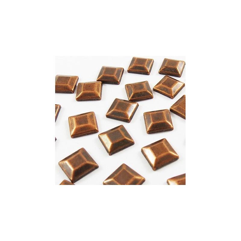 Strass thermocollant en métal carré - Bronze vieilli
