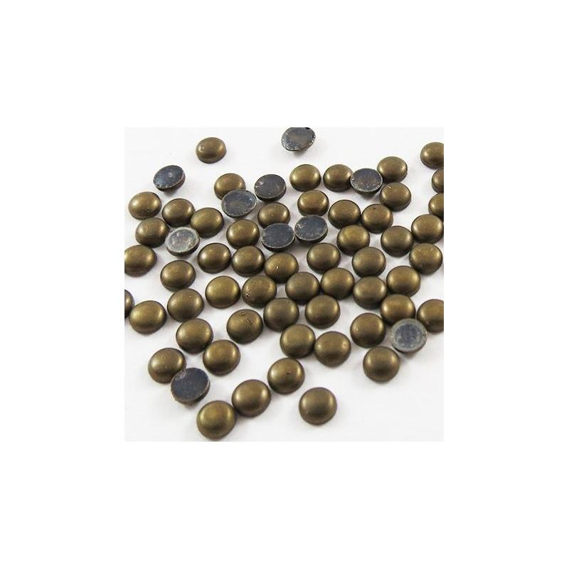 Strass thermocollant en métal rond bombé - Doré vieilli