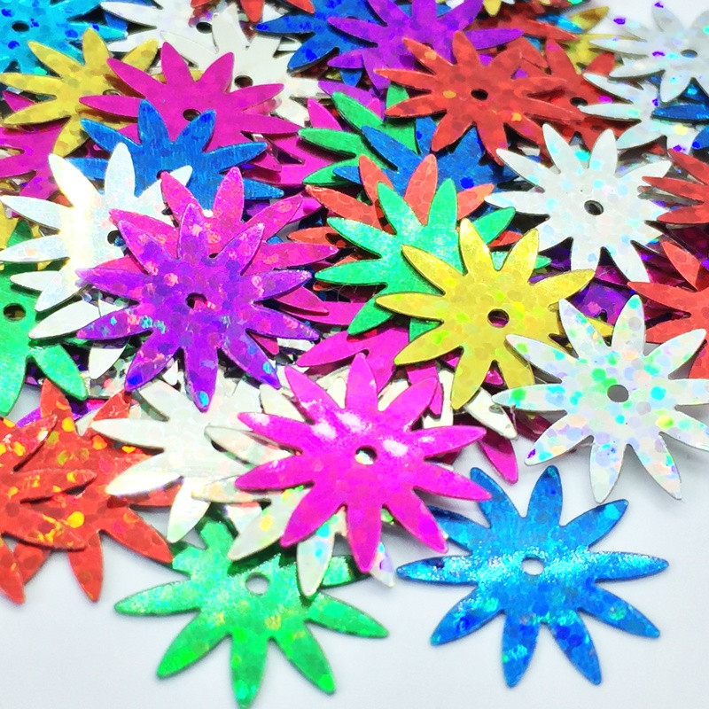 Sequin fleur - Multicolore hologramme - 18mm
