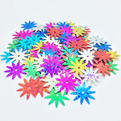 Sequin fleur - Multicolore hologramme - 18mm - détail