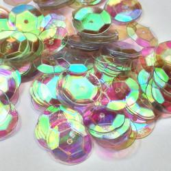 Sequin cup bombé - TRANSPARENT NACRE reflet rose vert- 10mm