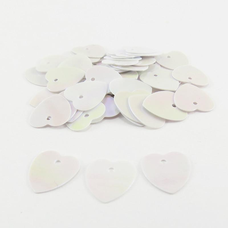 Sequin coeur - Blanc nacré - 10mm