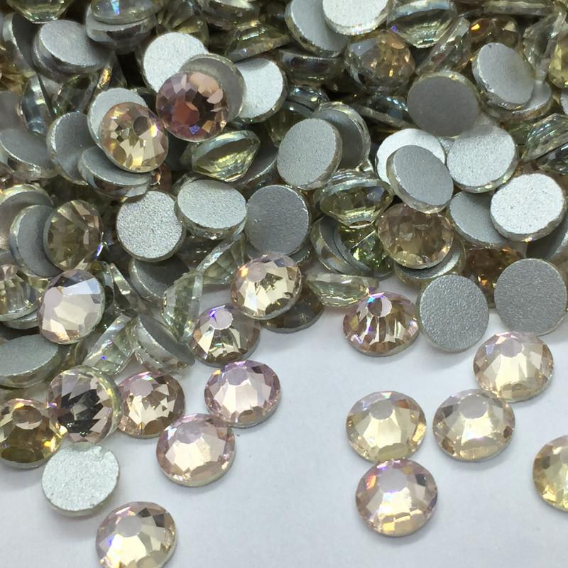 Strass en verre à coller - Irisé rose - 5mm