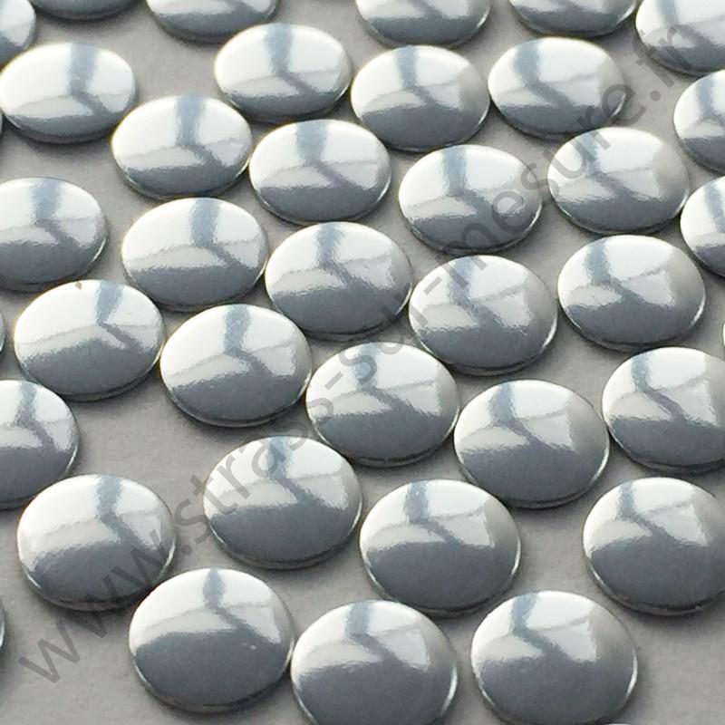 Strass thermocollant en métal rond plat - Argent - 2mm à 22mm - détail