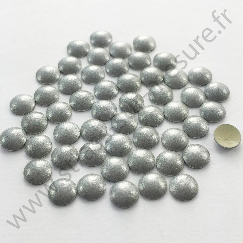 Strass thermocollant en métal rond bombé - Argent nacré - 2mm à 6mm
