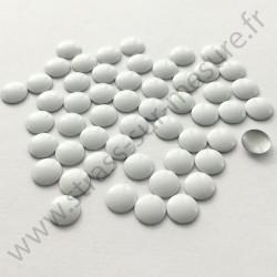 Strass thermocollant en métal rond plat - Blanc - 2mm à 8mm