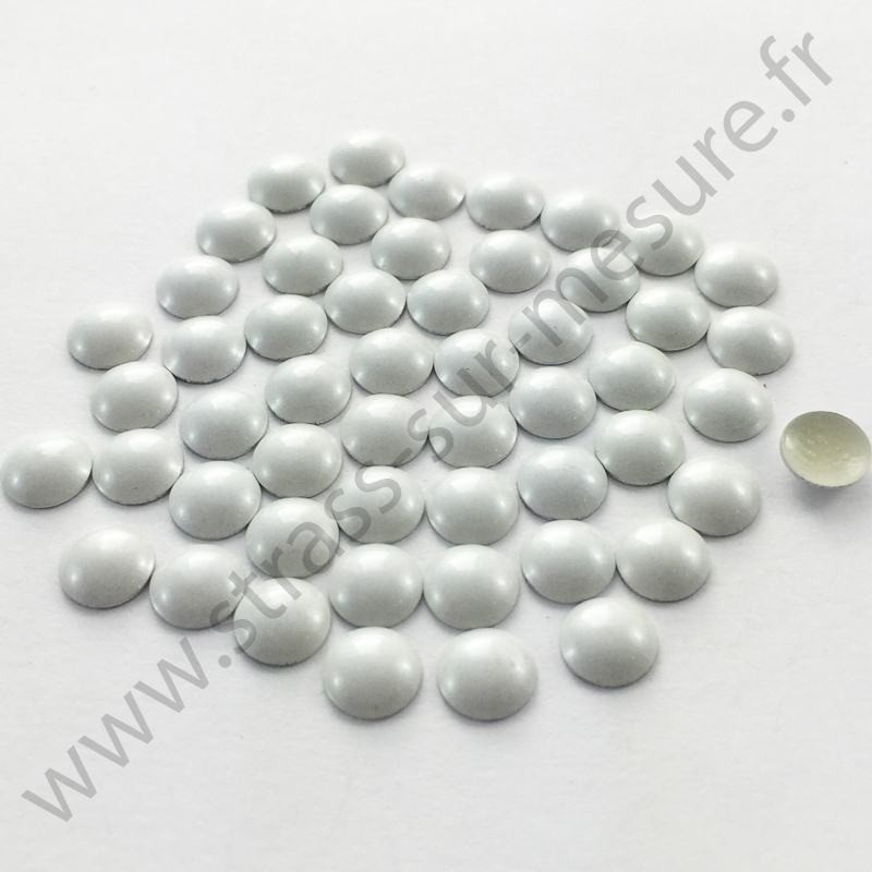 Strass thermocollant en métal rond bombé - Blanc nacré - 2mm à 6mm