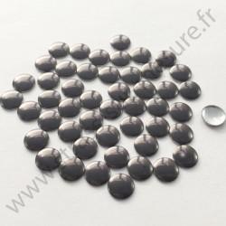 Strass thermocollant en métal rond plat - Gris - 2mm à 8mm