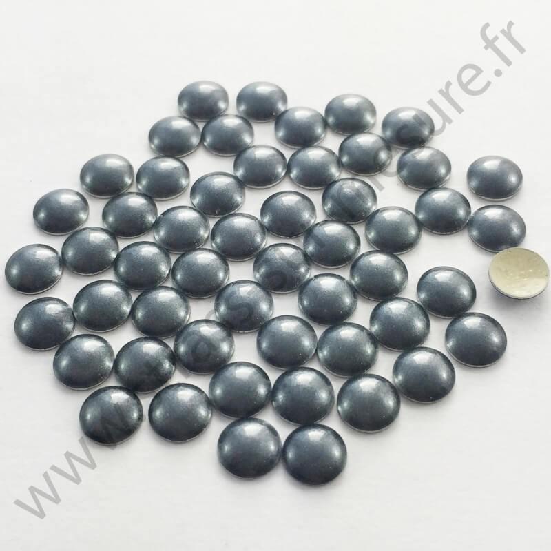 Strass thermocollant en métal rond bombé - Gris nacré - 2mm à 6mm