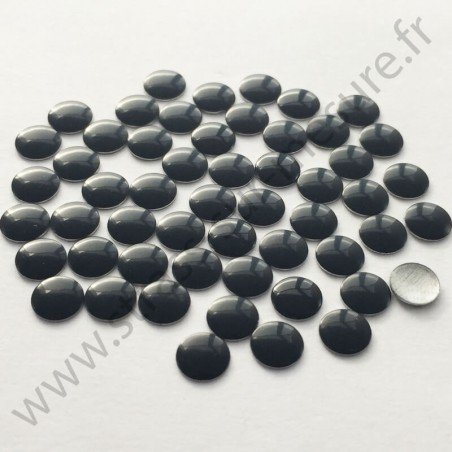 Strass thermocollant en métal rond plat - Noir - 2mm à 8mm