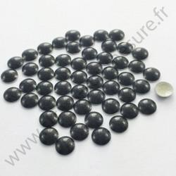Strass thermocollant en métal rond bombé - Noir nacré - 2mm à 6mm