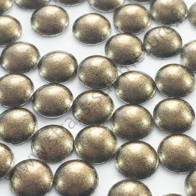 Strass thermocollant en métal rond bombé - Métal bronze nacré - 4mm, 5mm - détail