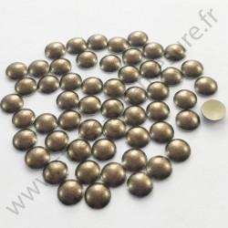 Strass thermocollant en métal rond bombé - Métal bronze nacré - 4mm, 5mm
