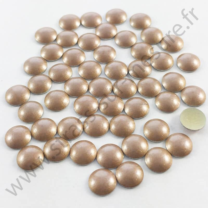 Strass thermocollant en métal rond bombé - Bronze nacré - 2mm à 6mm