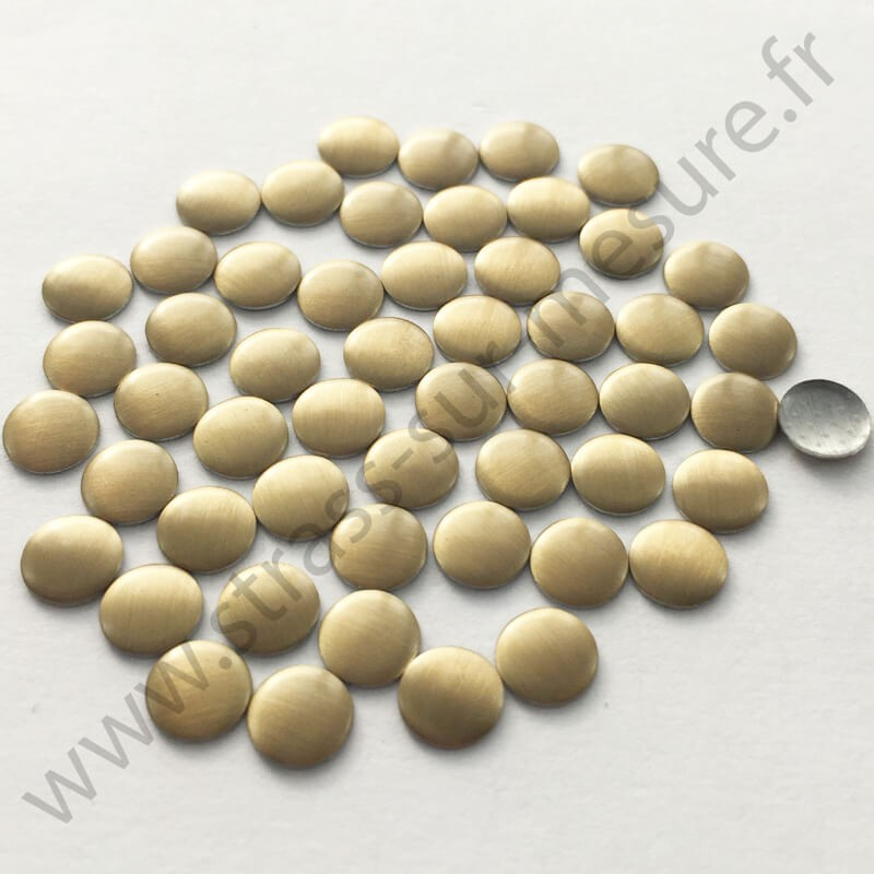 Strass thermocollant en métal rond plat - Doré mat - 2mm à 8mm