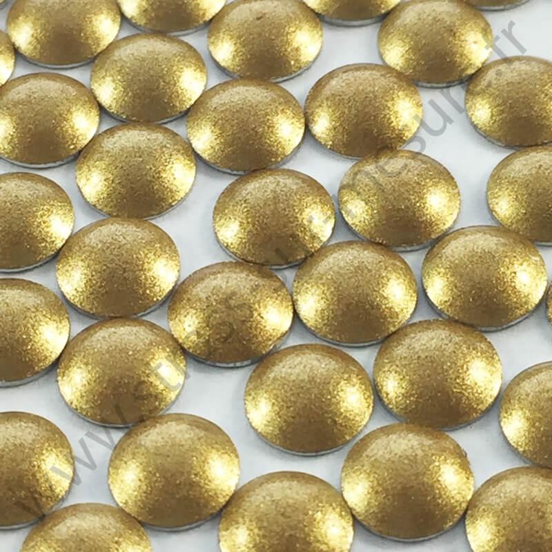 Strass thermocollant en métal rond bombé - Doré nacré - 2mm à 6mm - détail