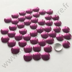 Strass thermocollant en métal rond plat - Aubergine - 2mm à 6mm