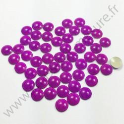 Strass thermocollant en métal rond bombé - Violet fluo - 2mm à 6mm
