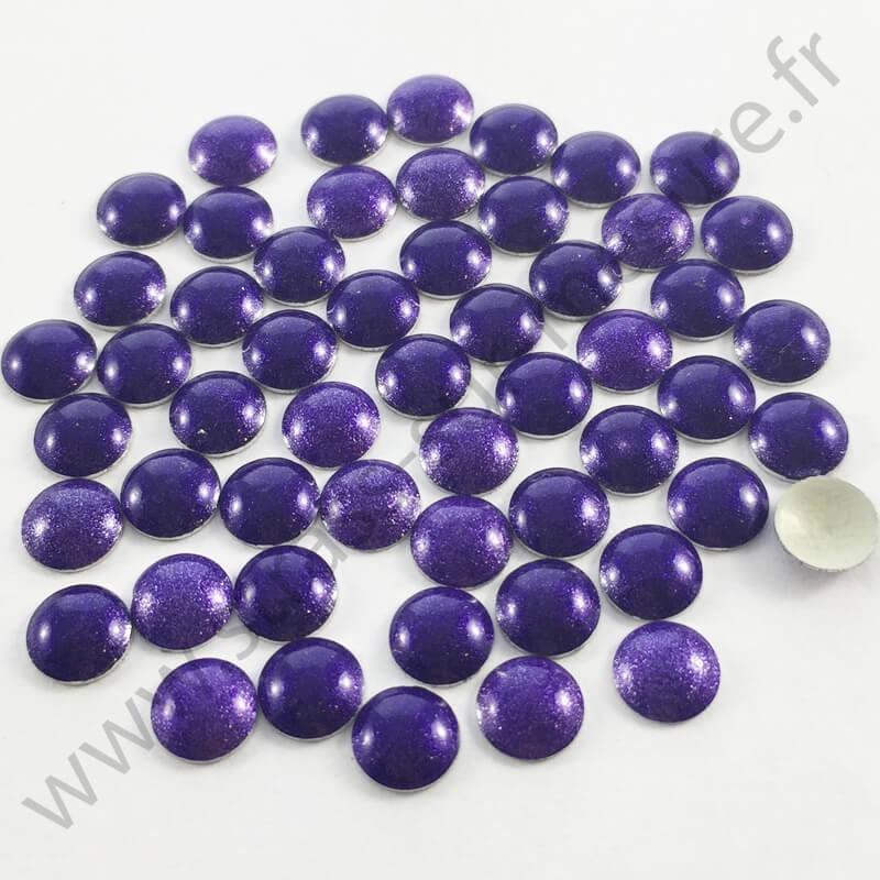 Strass thermocollant en métal rond bombé - Violet nacré - 2mm à 6mm