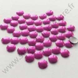 Strass thermocollant en métal rond plat - Rose fuchsia - 2mm à 6mm