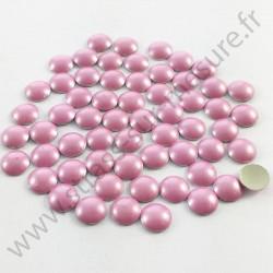 Strass thermocollant en métal rond bombé - Rose clair nacré - 2mm à 6mm