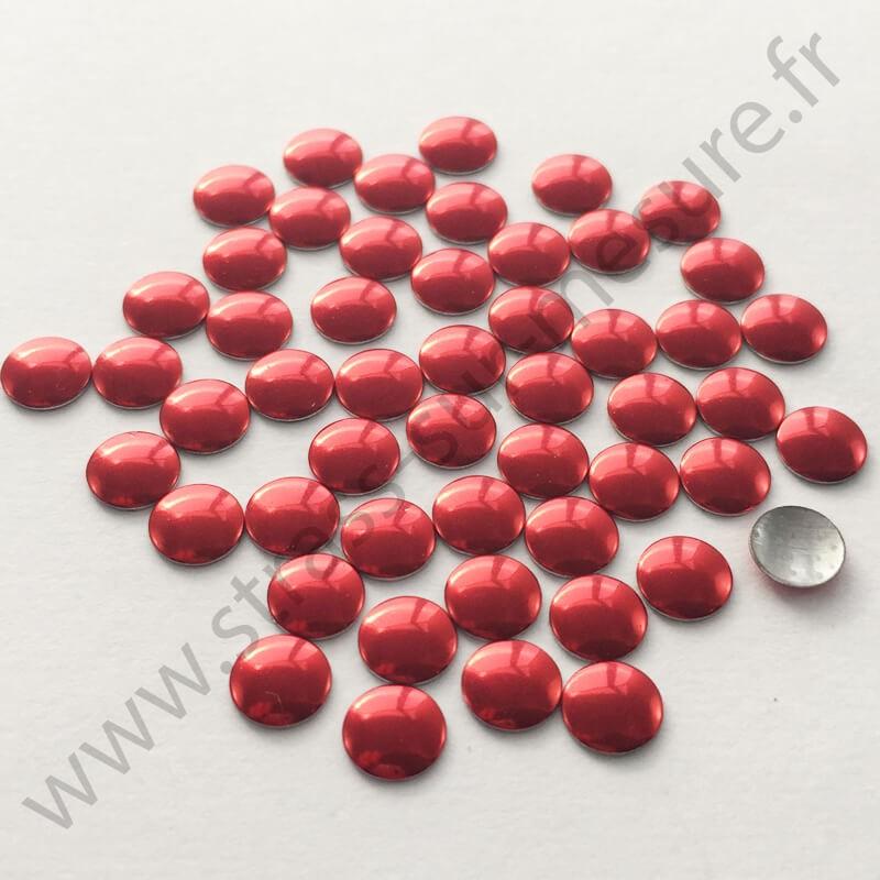 Strass thermocollant en métal rond plat - Rouge - 2mm à 8mm
