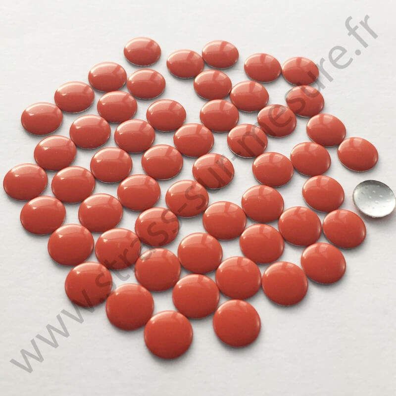 Strass thermocollant en métal rond plat - Orange - 2mm à 6mm