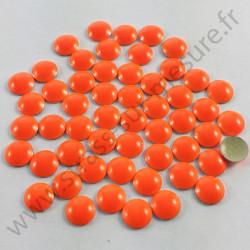 Strass thermocollant en métal rond bombé - Orange fluo - 2mm à 6mm
