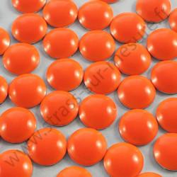 Strass thermocollant en métal rond bombé - Orange fluo - 2mm à 6mm - détail