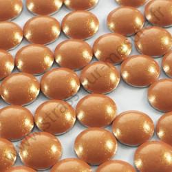 Strass thermocollant en métal rond bombé - Orange nacré - 2mm à 6mm - détail