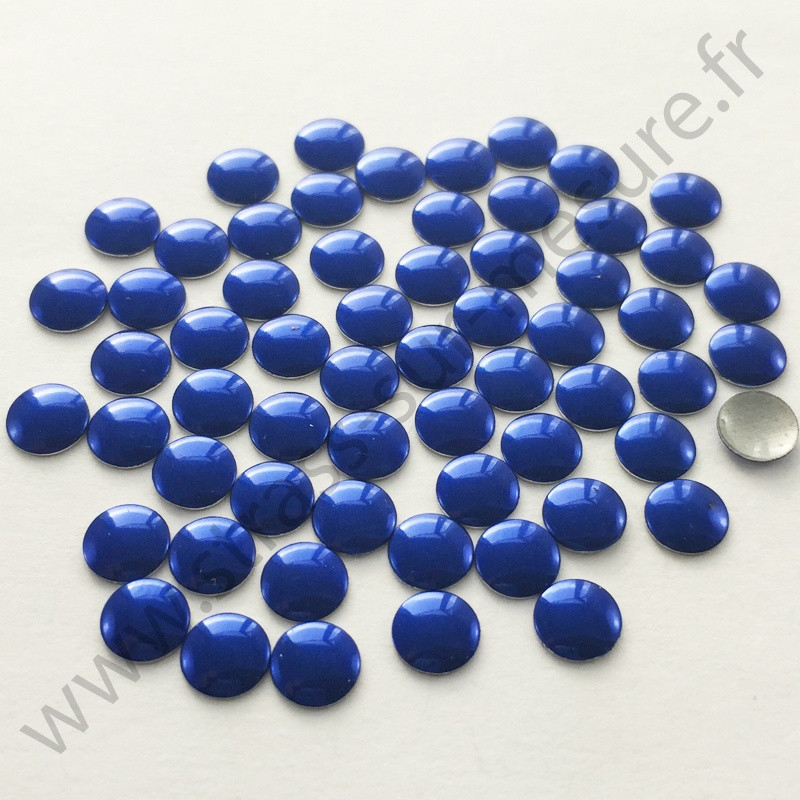 Strass thermocollant en métal rond plat - Bleu royal - 2mm à 6mm