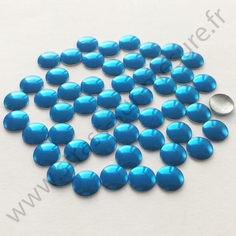 Strass thermocollant en métal rond plat - Bleu - 2mm à 6mm