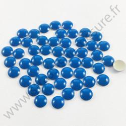Strass thermocollant en métal rond bombé - Bleu fluo - 2mm à 6mm