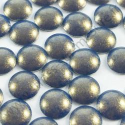 Strass thermocollant en métal rond bombé - Bleu reflet doré nacré - 2mm à 6mm - détail