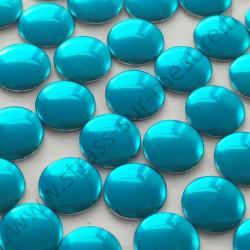 Strass thermocollant en métal rond plat - Turquoise - 2mm à 6mm - détail