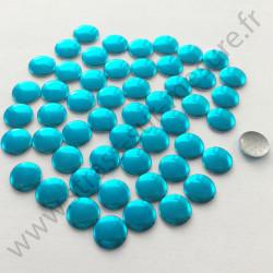Strass thermocollant en métal rond plat - Turquoise - 2mm à 6mm