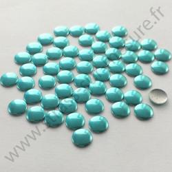 Strass thermocollant en métal rond plat - Bleu lagon - 2mm à 6mm