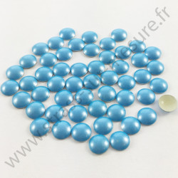 Strass thermocollant en métal rond bombé - Bleu ciel nacré - 2mm à 6mm