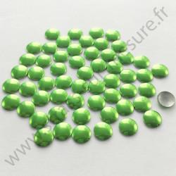 Strass thermocollant en métal rond plat - Vert pomme - 2mm à 6mm