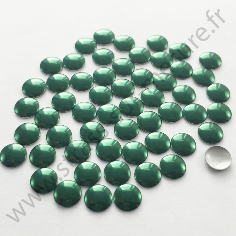 Strass thermocollant en métal rond plat - Vert emeraude - 2mm à 6mm