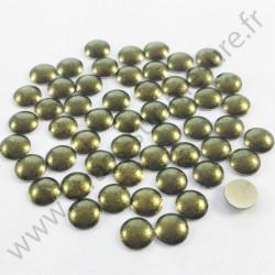 Strass thermocollant en métal rond bombé - Vert foncé nacré - 2mm à 6mm