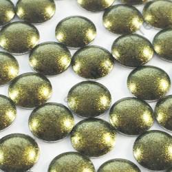 Strass thermocollant en métal rond bombé - Vert foncé nacré - 2mm à 6mm - détail