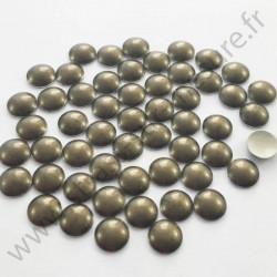Strass thermocollant en métal rond bombé - Vert kaki nacré - 2mm à 6mm