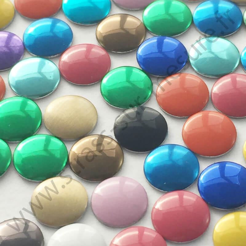 Strass thermocollant en métal rond plat - Multicolore - 2mm à 6mm - détail