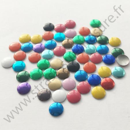 Strass thermocollant en métal rond plat - Multicolore - 2mm à 6mm