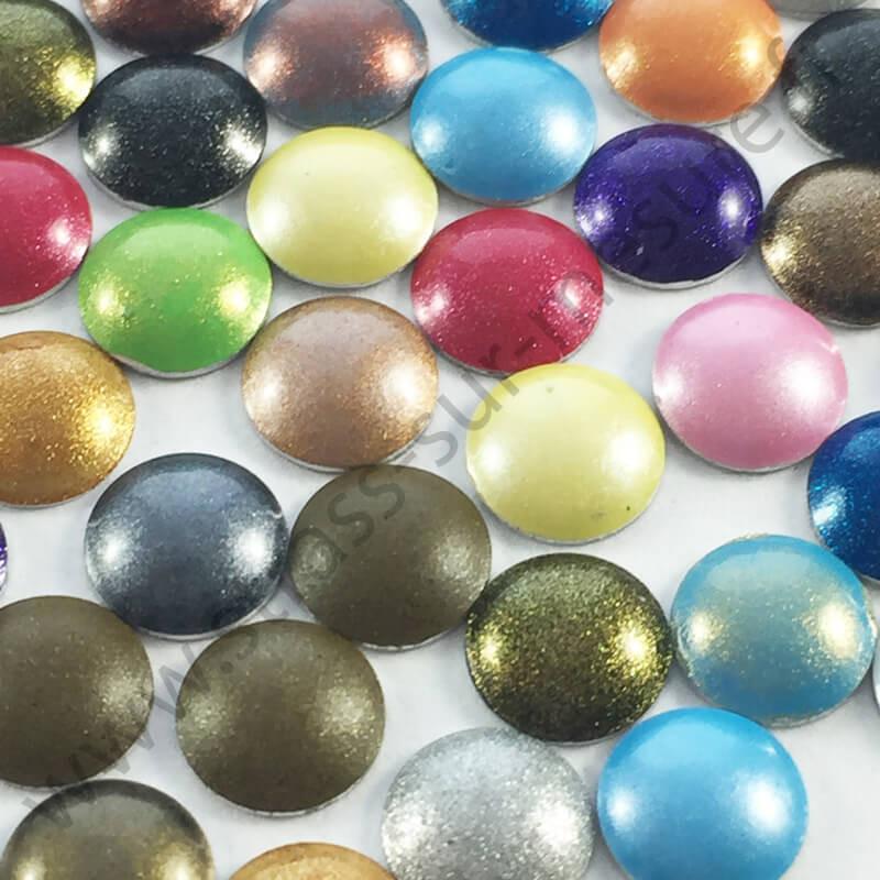 Strass thermocollant en métal rond bombé - Multicolore nacré - 2mm à 6mm - détail
