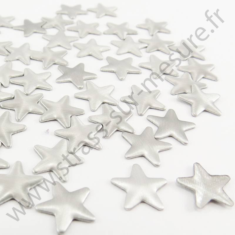 Strass thermocollant en métal étoile - Argent mat